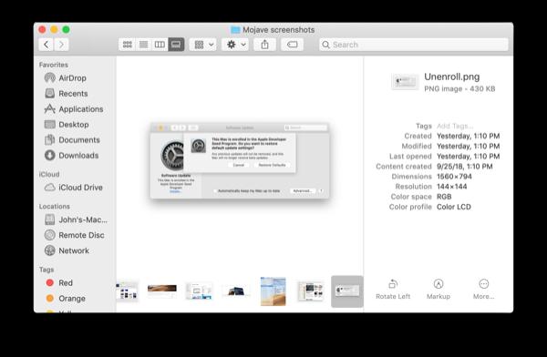 macOS Mojave Finder metadata