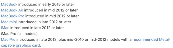 macOS Mojave system requirements