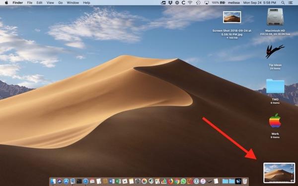 The macOS Mojave Floating Thumbnail.