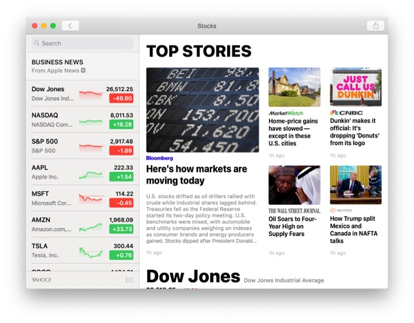 Mojave's Stock app from iOS