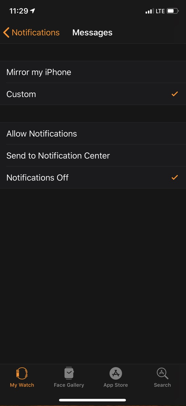 """Notifications Off"" for Apple Watch in Watch app"