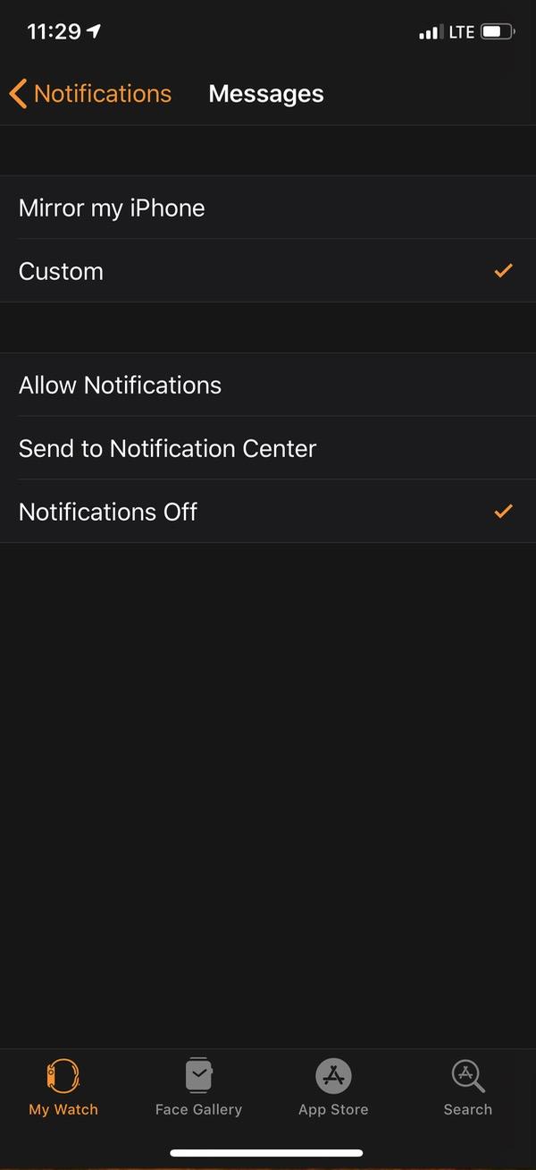 """Notifications Off"" for Apple Watch in Watch app"