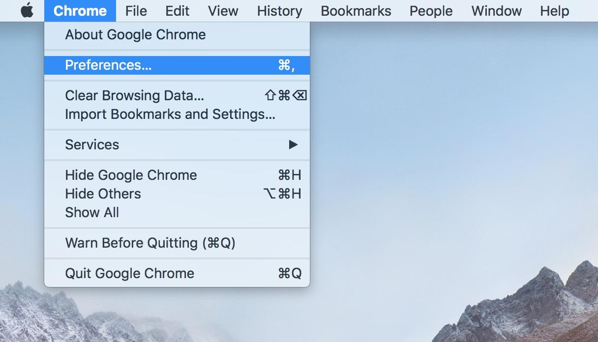 Chrome's Preferences Option on the Mac