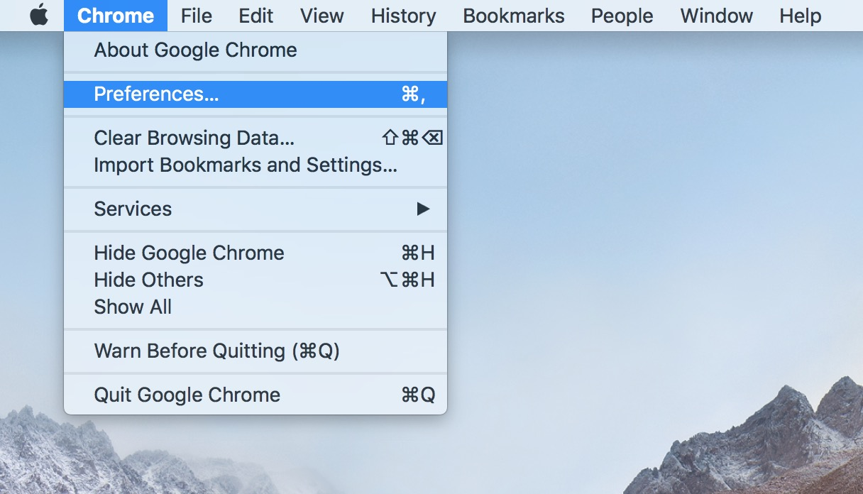 Chrome's Preferences Option on the Mac