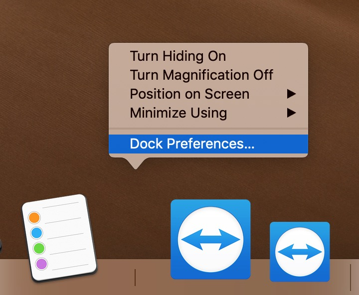 """Dock Preferences"" Option in macOS Mojave"