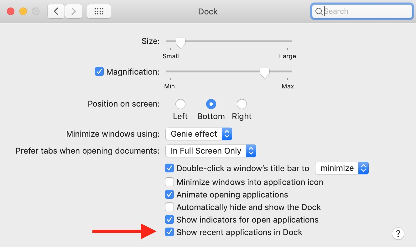 "Dock Preferences with ""Show recent applications in Dock"" option in macOS Mojave"