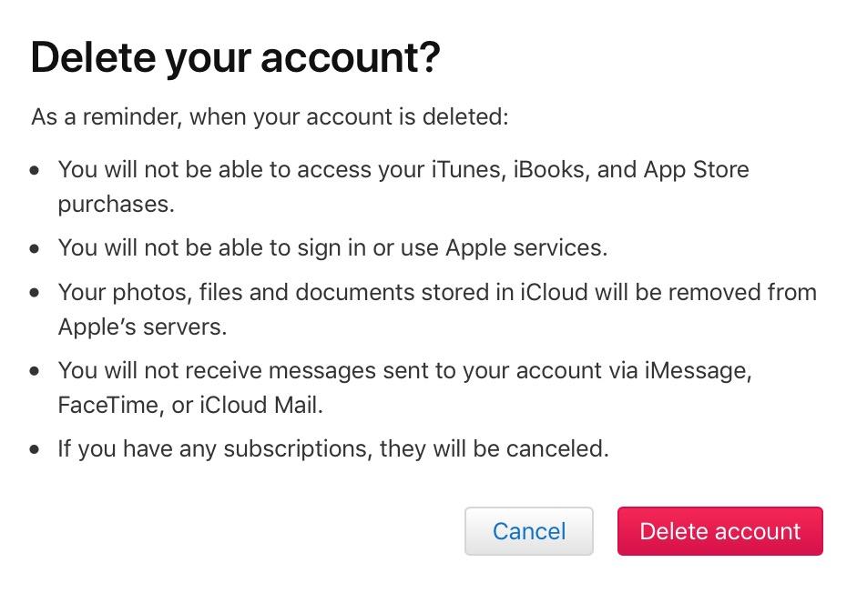 """""""Delete account"""" Button"""