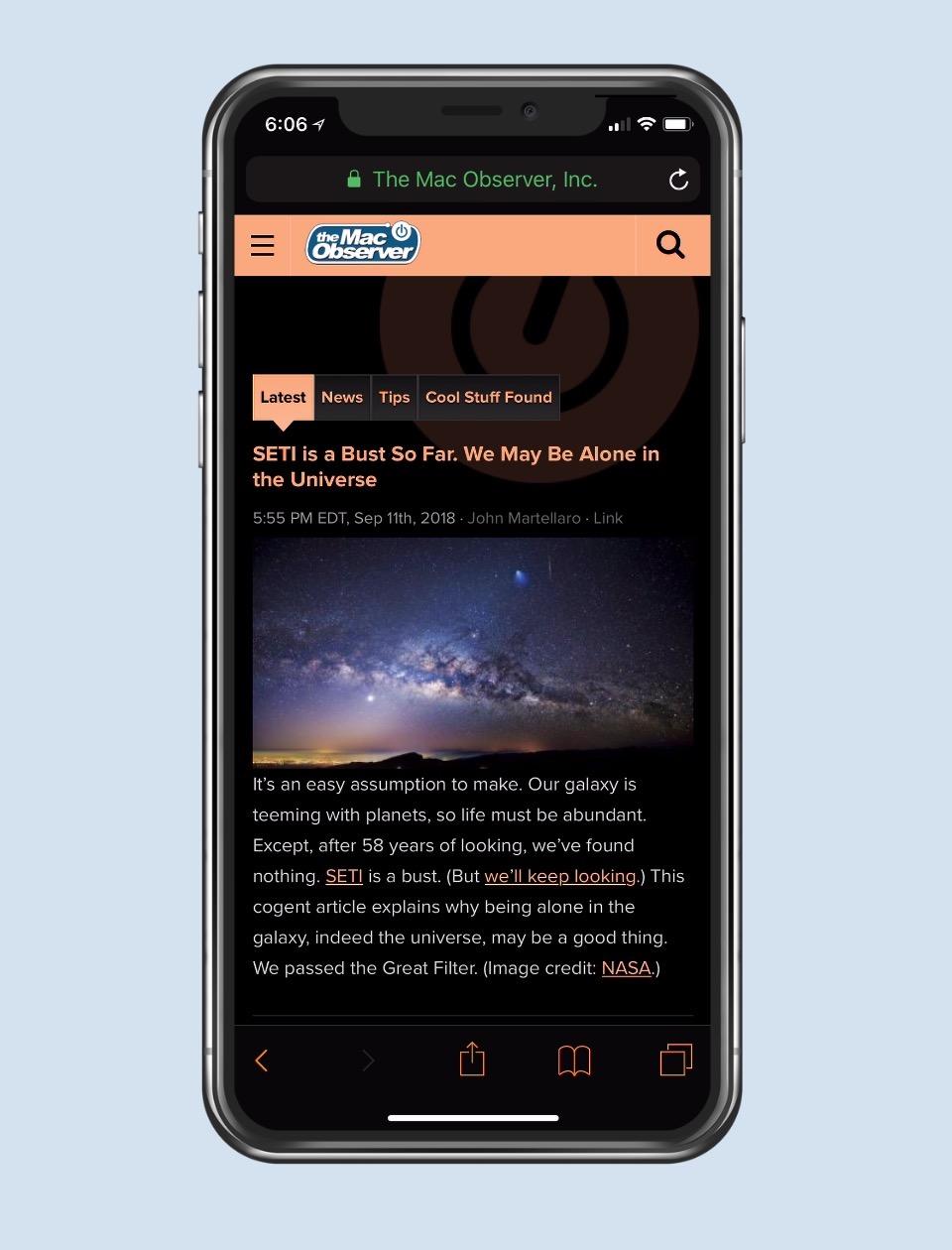 Smart Invert in Safari on iPhone