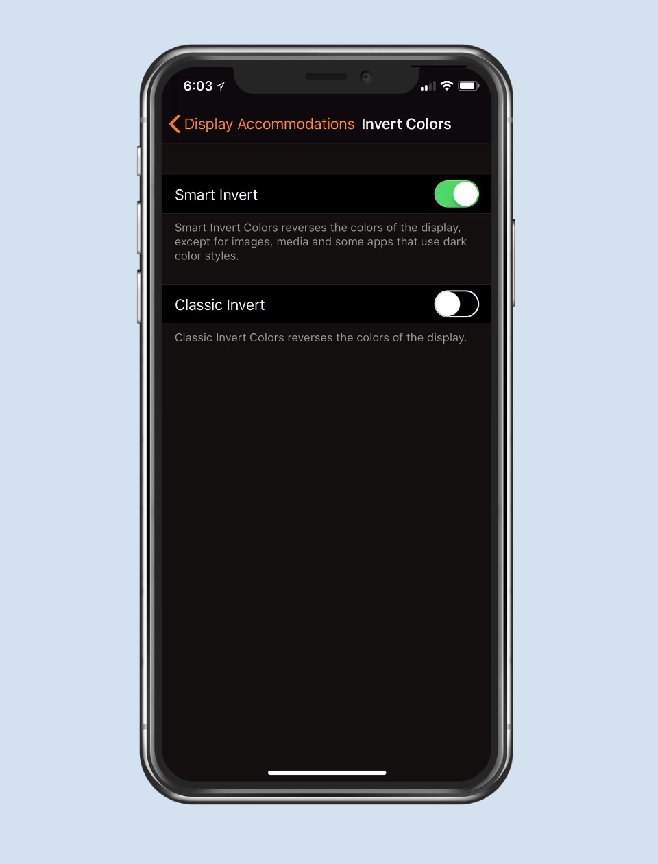 Turn on Smart Invert on iPhone