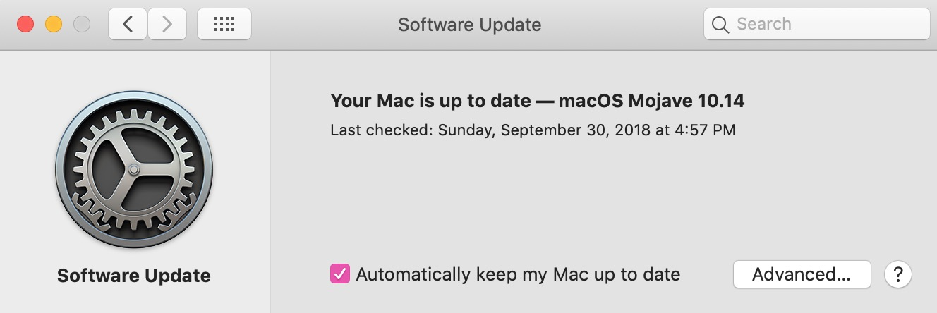 """""""Software Update"""" Pane in System Preferences in macOS Mojave"""