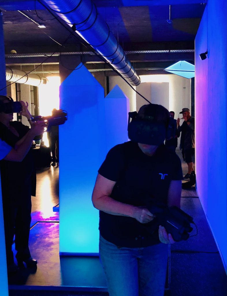 VR Laser Tag was more fun (and prettier) than real laser tag; I wish you could see what we saw in the headsets!