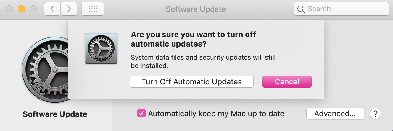 Warning in System Preferences in macOS Mojave