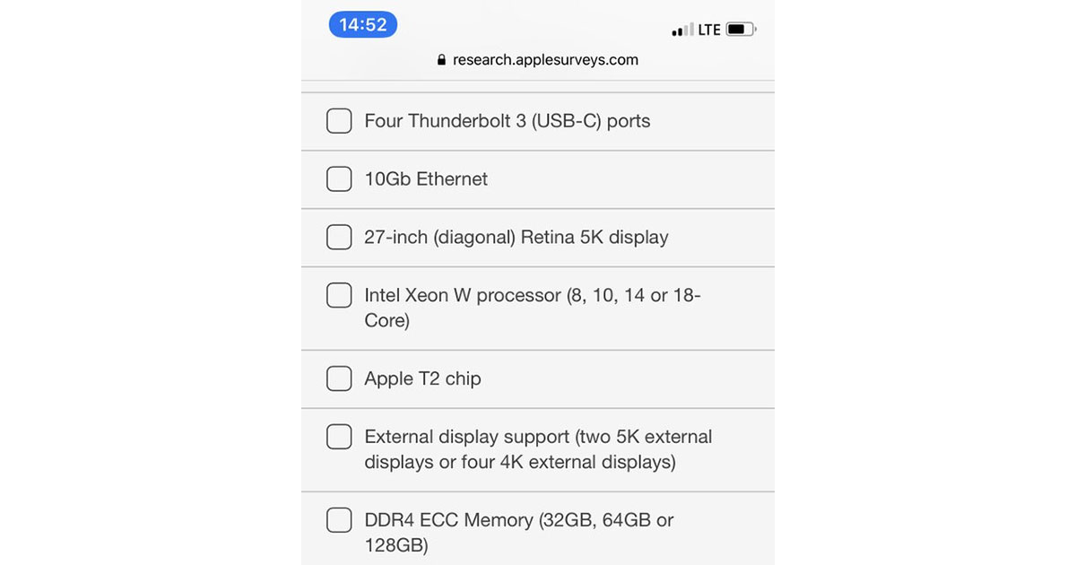 Questions from Apple's iMac Pro Survey