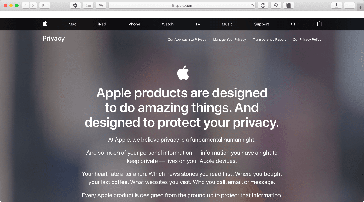 Screenshot of Apple's privacy page. Apple plans to support Senate privacy rules during a hearing this week.