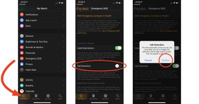 Apple Watch Series 4 Fall Detection settings on iPhone