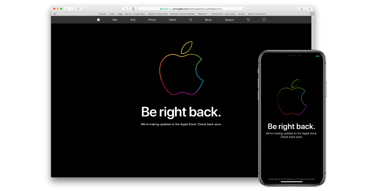 "Apple Store offline with ""Be right back"" message"
