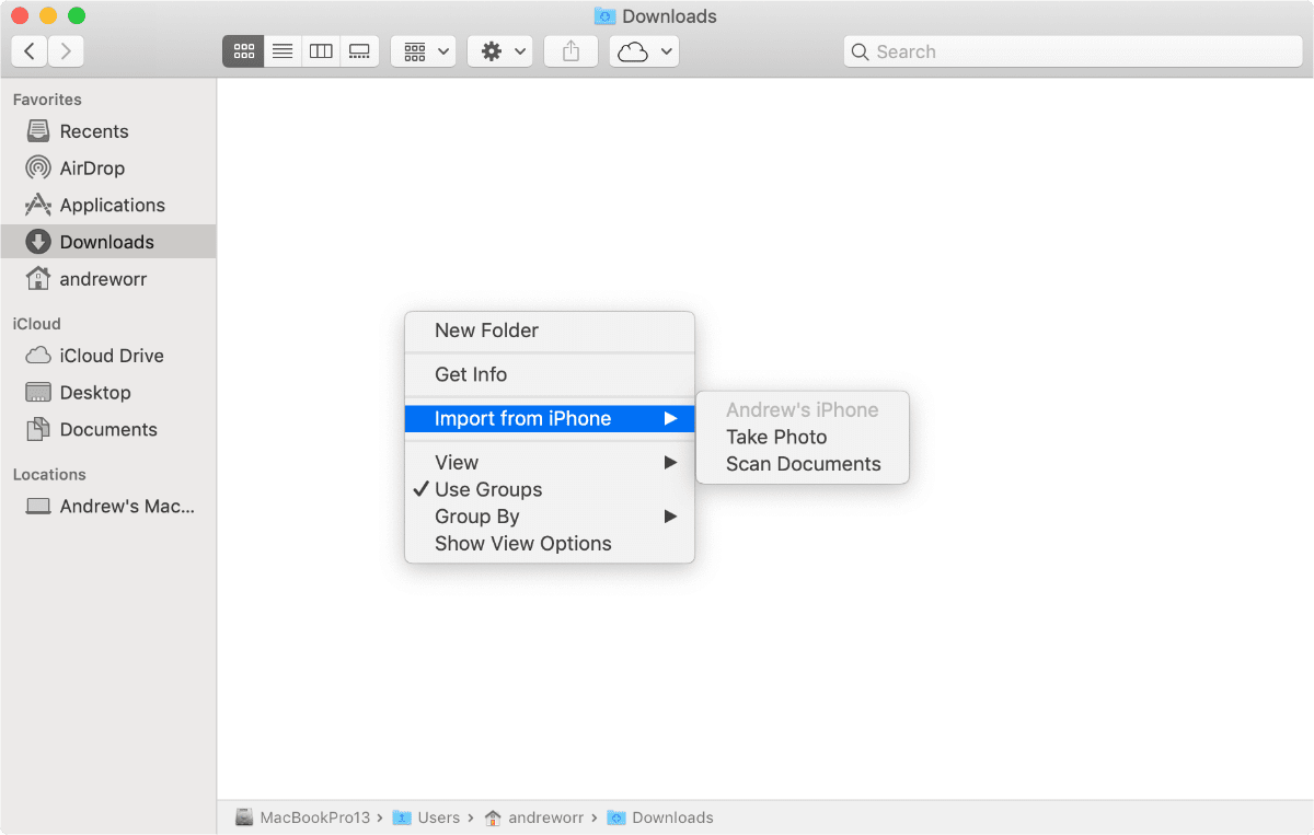 Image of Continuity Camera in Finder.