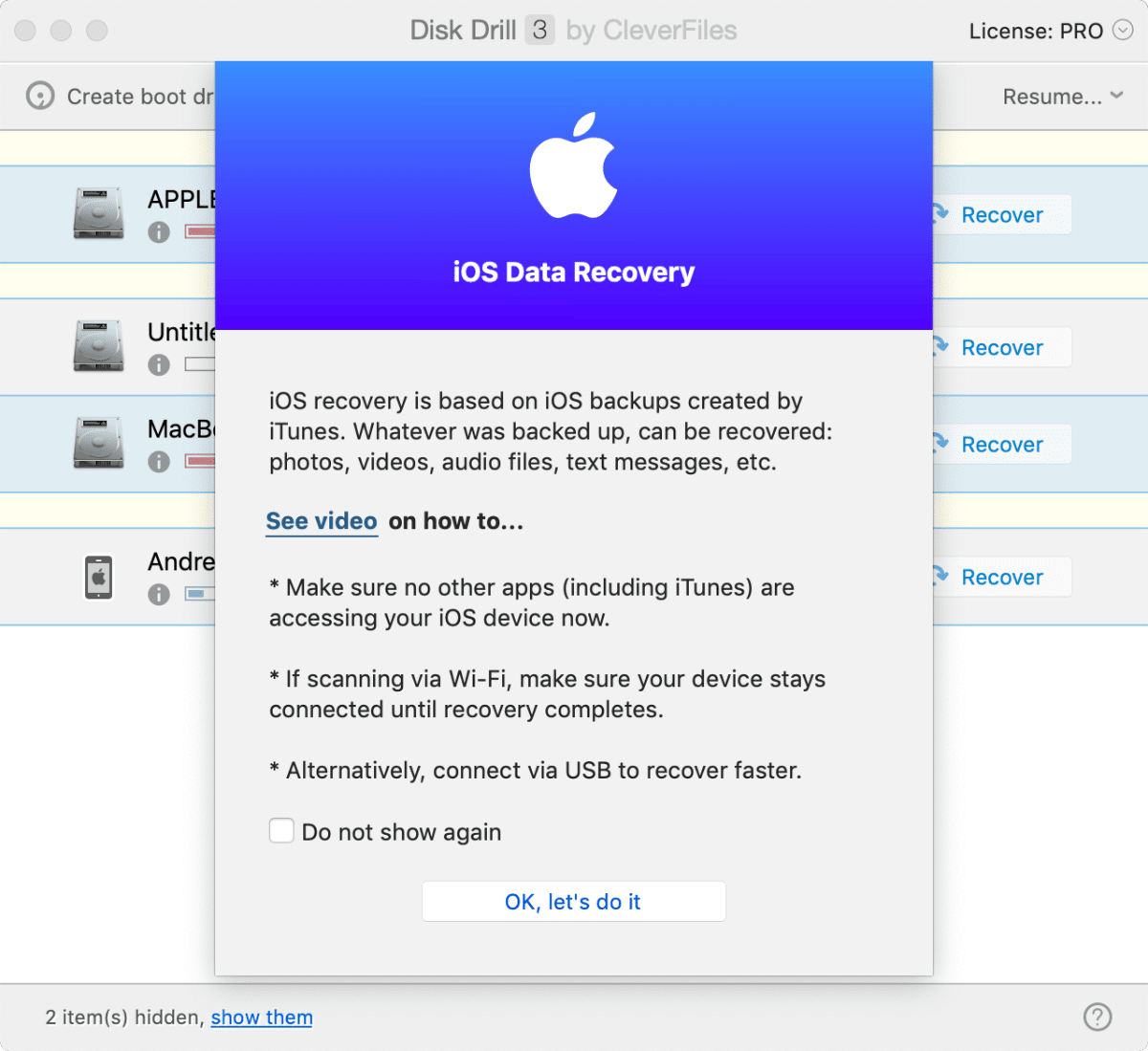 Disk Drill 3 can recover iOS data. Screenshot of the process.