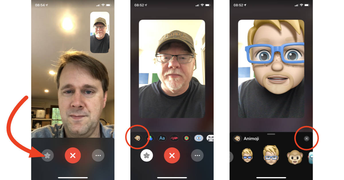 Choosing Memoji for real time camera effects in FaceTime on iPhone