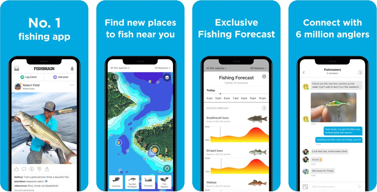 Screenshots of Fishbrain in our roundup of outdoor AR apps.