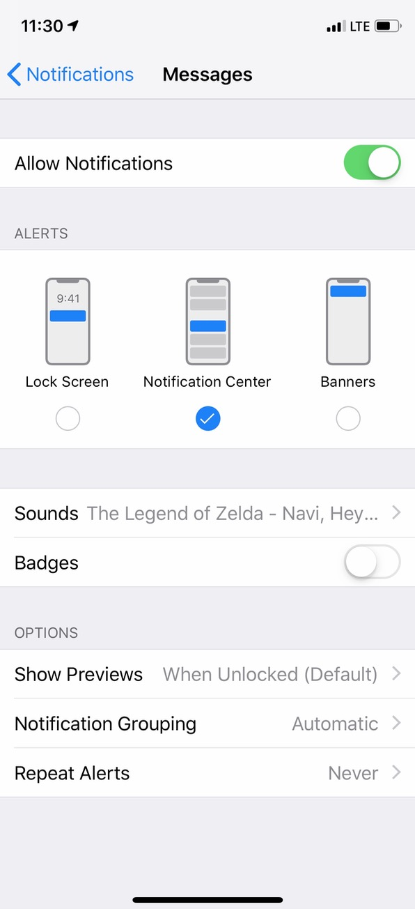 Notifications Settings on iPhone