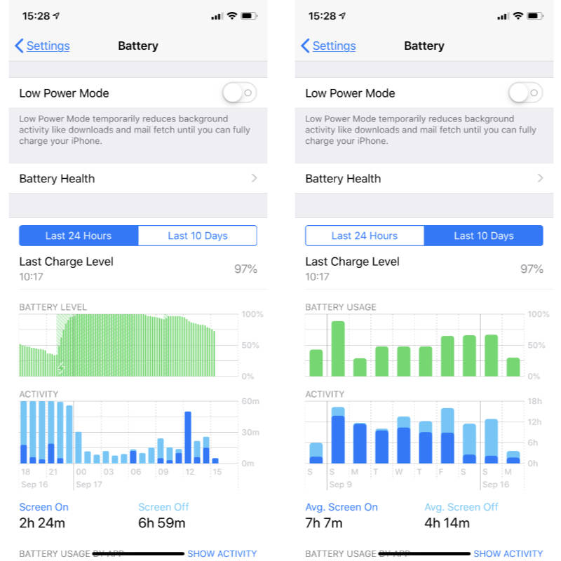 iOs 12 battery health data on iPhone