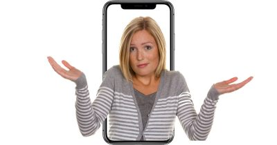 Confused woman with iPhone