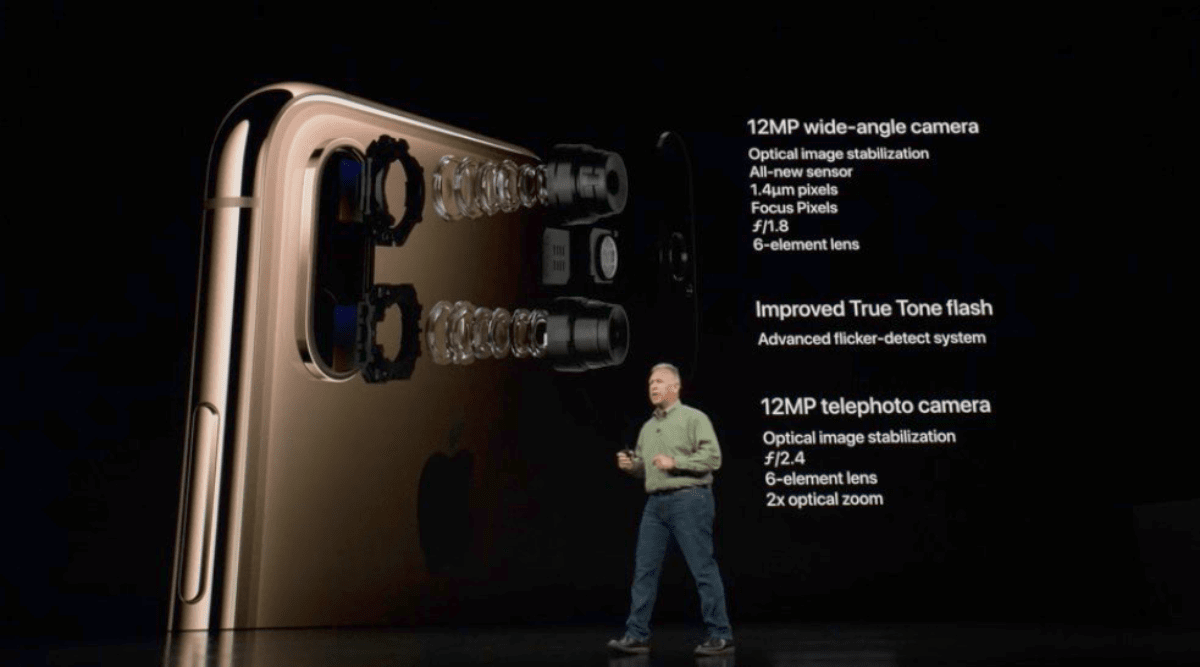 Phil Schiller showing iPhone Xs camera features