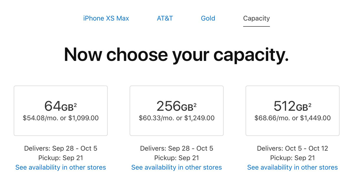 iPhone Xs Gold (AT&T) availability at 2:50 AM PDT