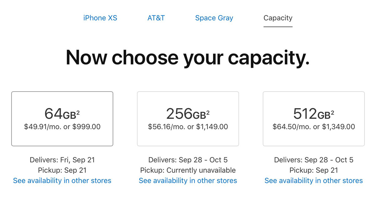 iPhone Xs Space Gray (AT&T) availability at 2:40 AM PDT