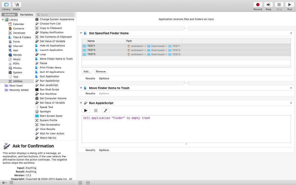 Screenshot of Automator, with which you can create a Mac panic button.