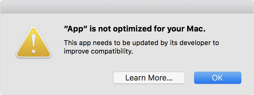 You'll see an alert like this one the first time you launch a 32-bit app under Mojave...
