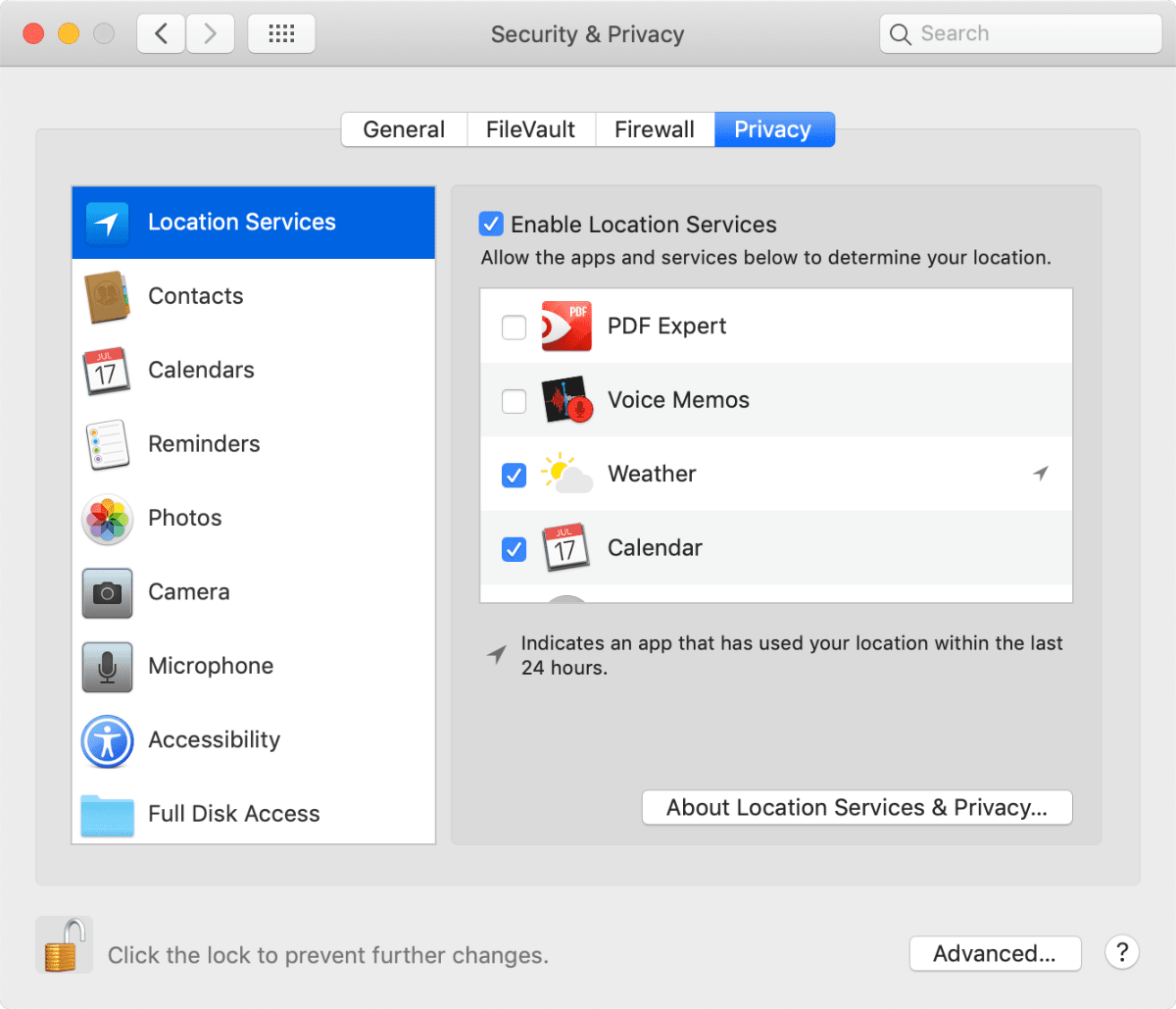 macOS Privacy Protection settings in System Preferences.