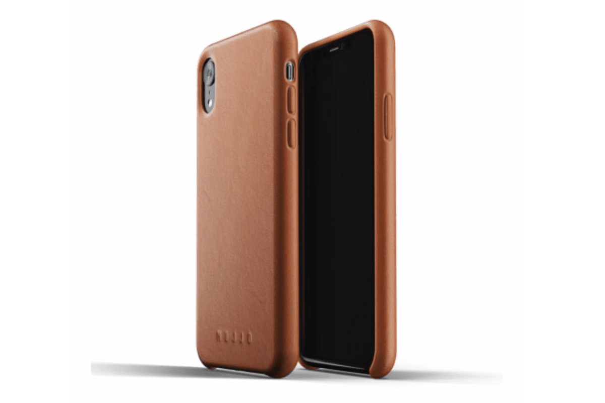 Image of Mujjo leather case in our roundup of iPhone XR cases.