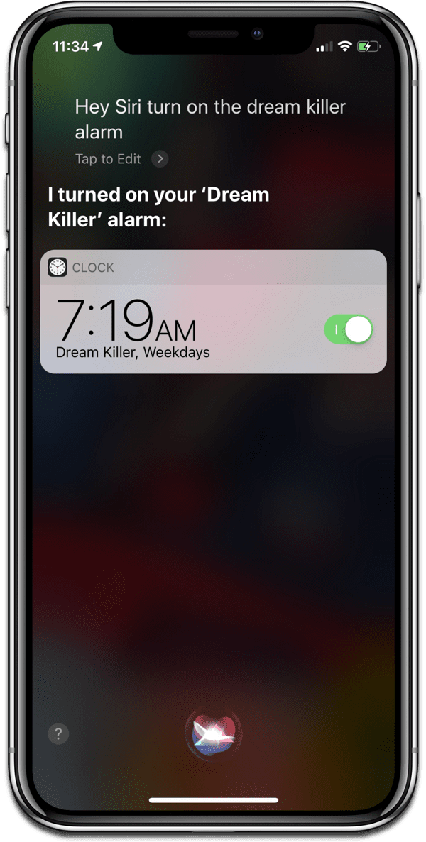 Image of named iOS alarms