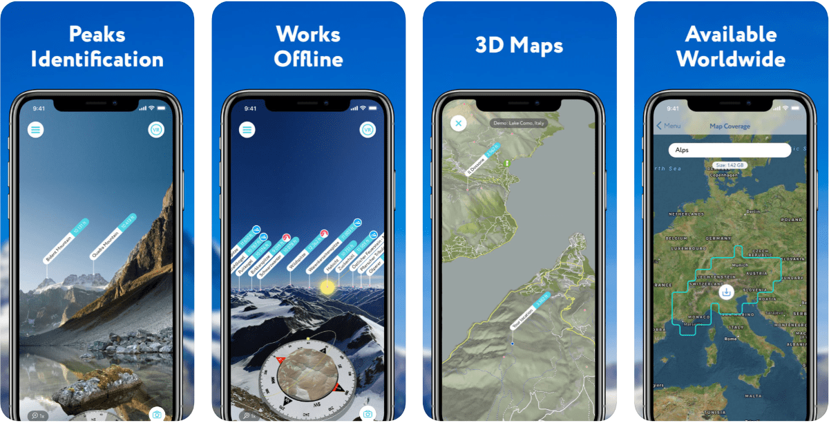 Screenshots of PeakVisor in our roundup of outdoor AR apps.