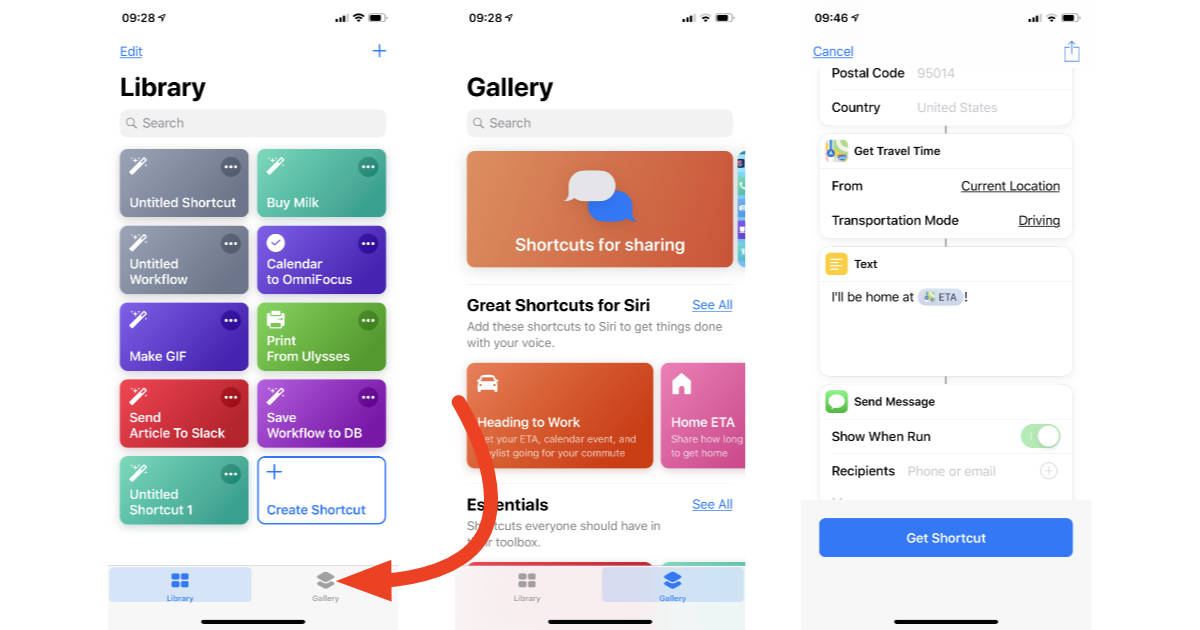 Shortcuts Gallery in iOS 12 on iPhone