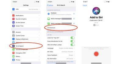 iOS 12 Siri Shortcuts settings on iPhone