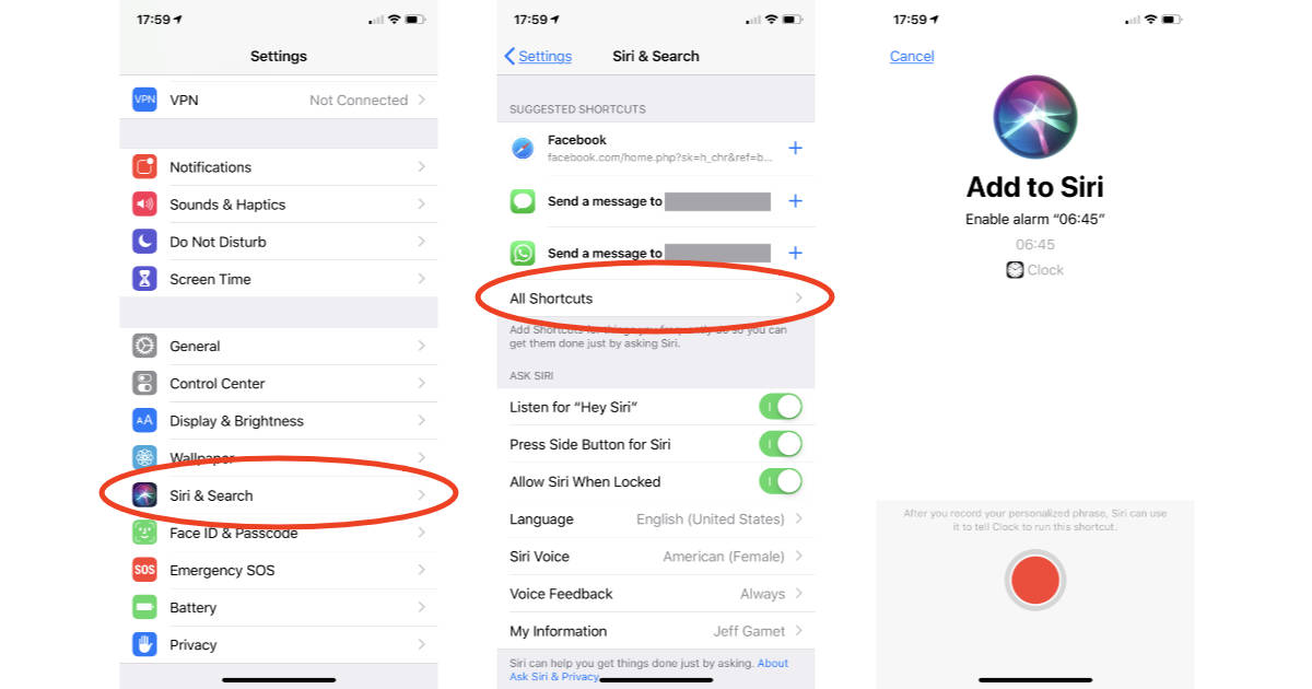 iOS 12 Siri Shortcuts settings on iPhone