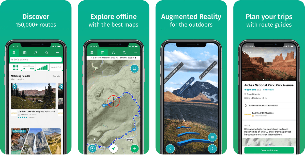 Screenshots of viewranger in our roundup of outdoor AR apps.