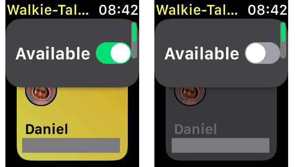 watchOS 5 Walkie Talkie app Available setting on Apple Watch