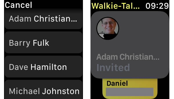 Friend invitation in Walkie Talkie on Apple Watch in watchOS 5