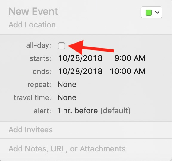 "macOS Calendar ""All-Day"" Box in Event Details Window"