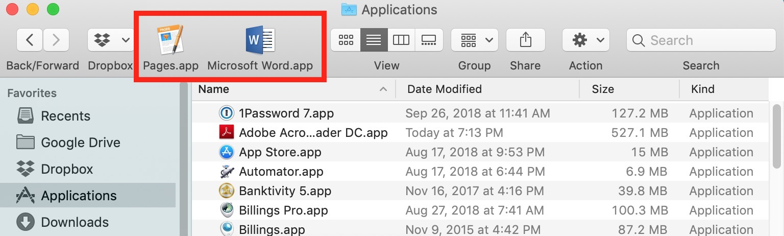 Applications in Mac Finder's Toolbar