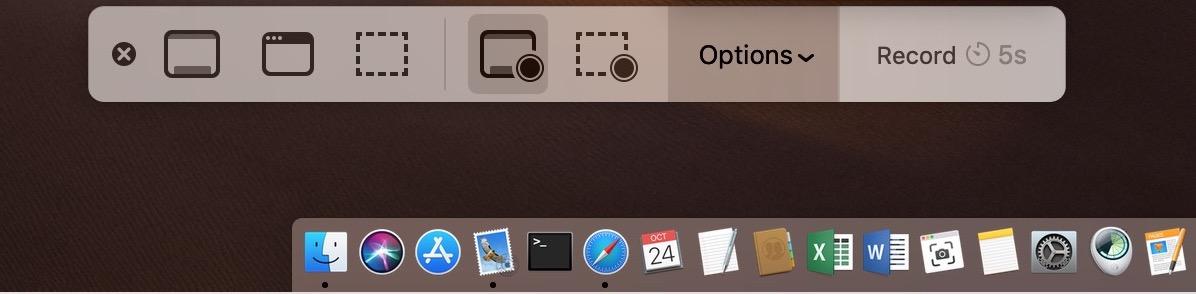 Screenshot App in Dock with Navigation Bar in macOS Mojave