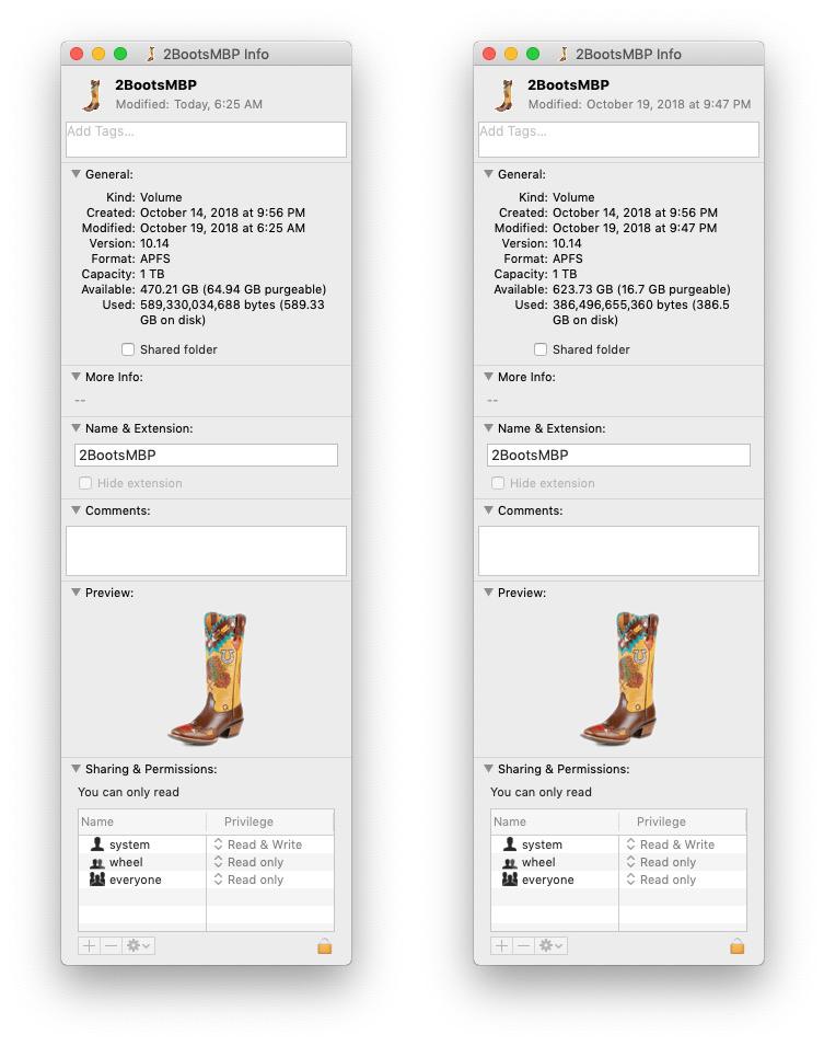 This before (left) and after (right) shot tells the story of my 100+GB of cruft.