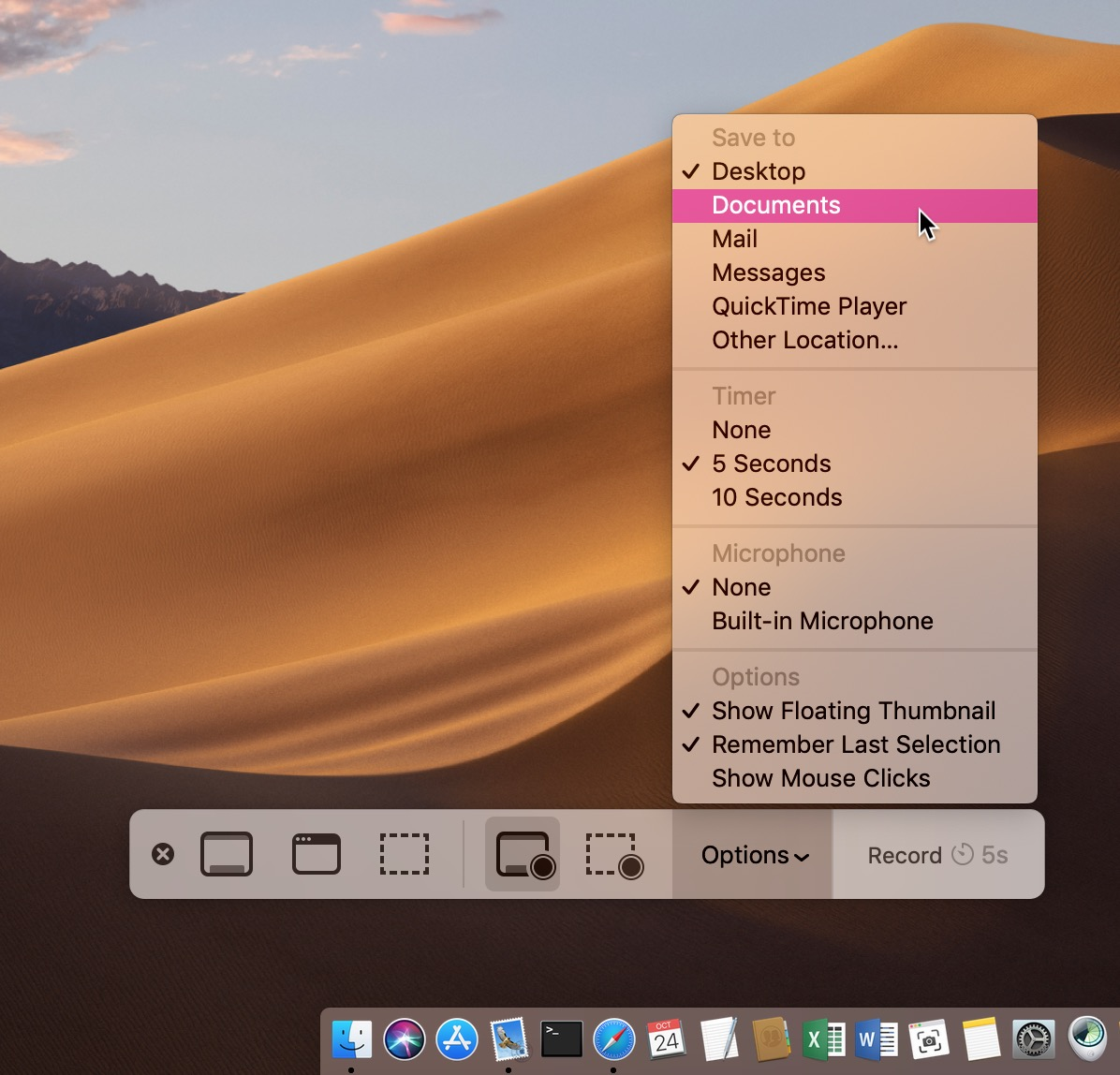 Screenshot App in Dock with Options in macOS Mojave