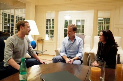 Nick Clegg with Mark Zuckerberg and Sheryl Sandberg