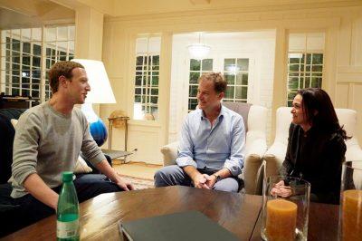 Nick Clegg with Mark Zuckerberg and Sheryl Sandberg