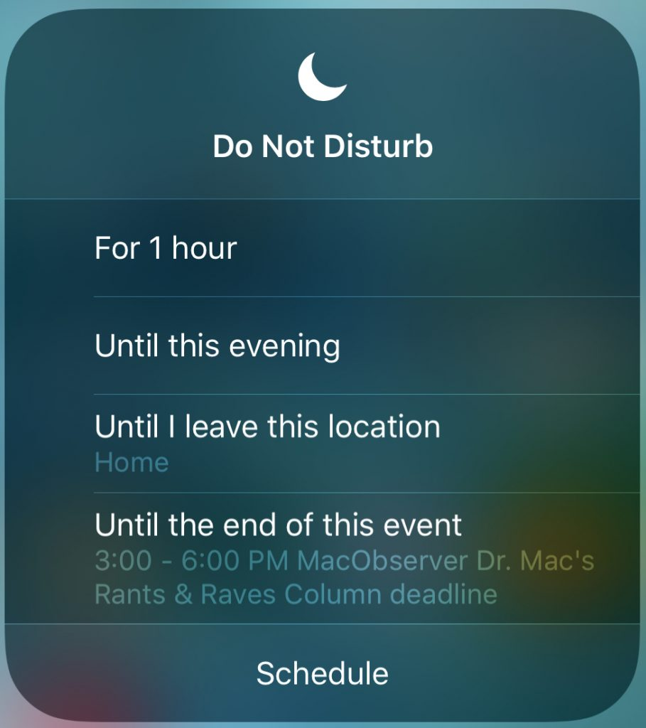 These are the new options for Do Not Disturb!